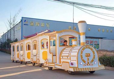 China Theme Park Fiberglass Electric Trackless Train 42 Set Hydraulic Power Steering distributor