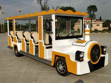 China cartoon electric sightseeing car 14 seats Size 5710*1590*2160mm power  72v7.5kw distributor